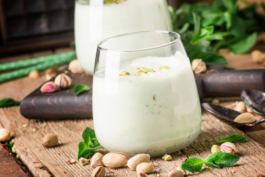 Pistachio smoothie in a glass